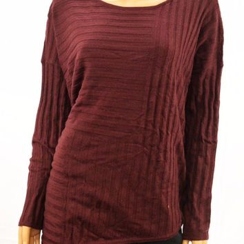 INC Concepts Women's Red Striped Asymmetrical Tunic Sweater Top M