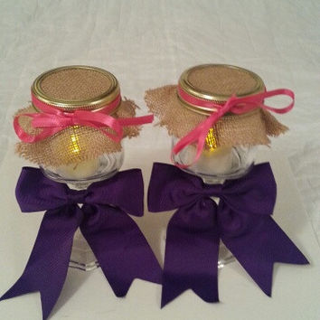 Burlap purple coral wedding candle jar / center piece set. Any color to match your wedding