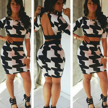 New Women's Fashion Party Sexy Two Piece Suit Backless Tank Tops + Bodycon Midi Skirts = 5617138561