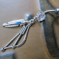 Feather Bow And Arrow Belly Button Ring Jewelry Piercing Blue Navel Charm