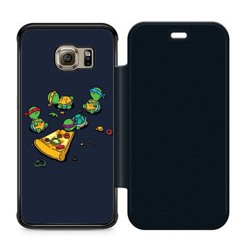 Ninja Turtles Pizza Leather Wallet Flip Case Samsung Galaxy S6 Edge