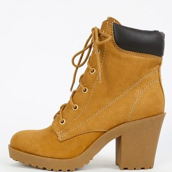 Soda Keelo-h Suede Chunky Heel Combat Boots | MakeMeChic.com