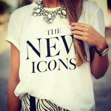 """White """"The New Icons"""" Letter Print T-Shirt"""