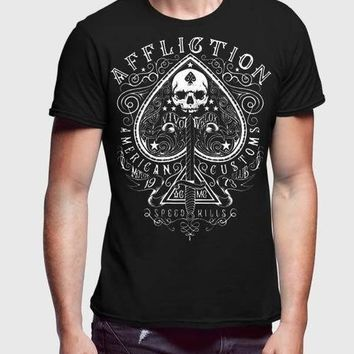 Affliction Easy Riders Black Half Sleeve Men