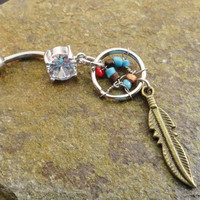 Indian Summer Dream Catcher Belly Button Ring by MidnightsMojo