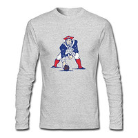 Mens Vintage Organic Cotton New England Patriots Long Sleeve T-Shirt HeatherGray US Size L
