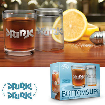 DRINK/DRUNK BOTTOMS UP SHOT GLASSES