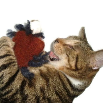 Valerian Catnip Toy - Hand Knit Felted Cat Toy - Stinking BloodSucker - Perry the Tick