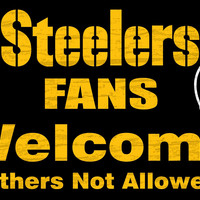 "Pittsburgh Steelers Wood Sign - Fans Welcome 12""x6"""