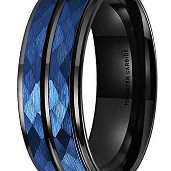 CERTIFIED 8MM Hammer Blue Hammered Tungsten Black Two Tone Wedding Band