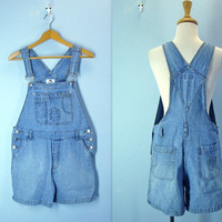 Denim Overall Shorts / 1980s Overalls / Denim Shorts / m