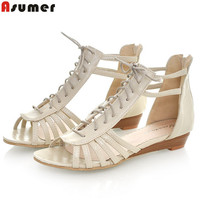 Plus size 34-43 gladiator women sandals wedges low heels casual summer shoes woman cut outs lace up beach shoes
