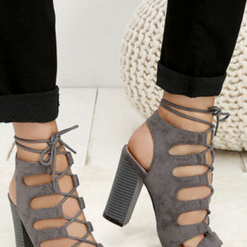 Obsessed Grey Suede Lace-Up Heels