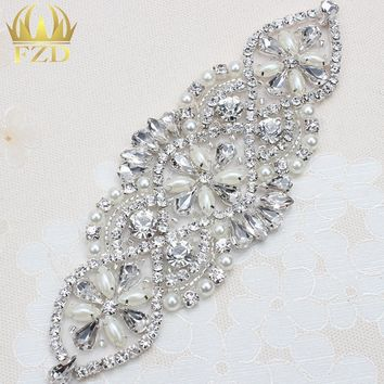 (1piece) Handmade Beaded Sewing Iron on Sliver Crystal Wedding Bridal Belt and Sashes Rhinestone Pearl Applique Patches