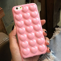 Korean Love Peach Heart Jelly Candy Soft Silicone TPU Pink Phone Back Cover Case For iPhone 6 6S 6 Plus 6S Plus 7 7 Plus