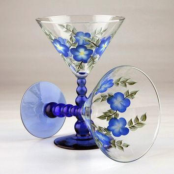 Hand Painted Colbalt Blue Martini Glasses