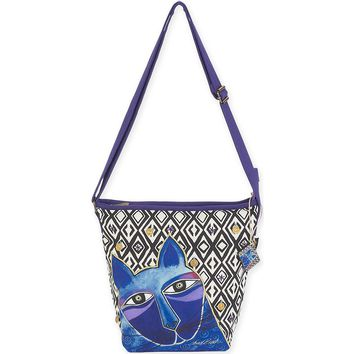 """Crossbody 11.5""""X3""""X12""""-Whiskered Cats - Blue"""