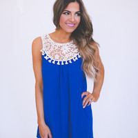 Royal Crochet Top Tank Dress