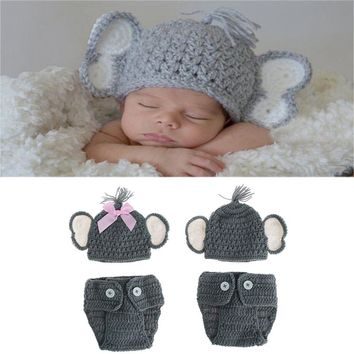 Newborn Baby Elephant Knit Crochet Hat Costume Photo Photography Prop Outfits