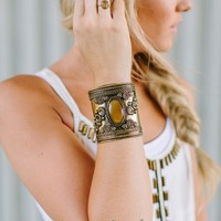 Warrior Stone Metal Cuff