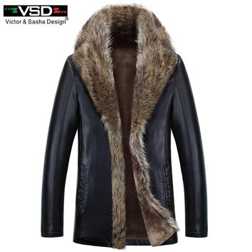 Winter Faux Leather Men Jacket Leisure Leather Business Men Warm Thick Coats Long Leather Jackets And Coat