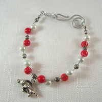 Arkansas Razorbacks, Wire Bracelet, Red & White Beads, Razorback Charm