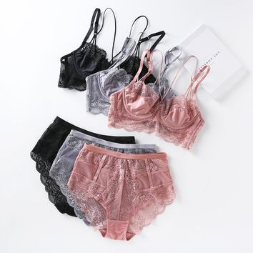 Lace ultrathin brassiere and waist-high panties push up beauty back pack women sexy underwear lingerie bra set transparent