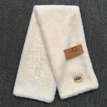 Gotopfashion '' UGG '' Autumn Winter Woman Men Scarf Scarves Heat Preservation Thick Scarf Accessories White