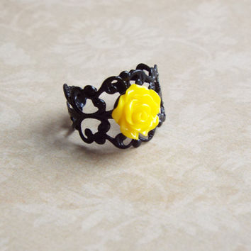 Yellow Rose Flower Black Filigree Metallic Ring Floral Adjustable Statement Ring