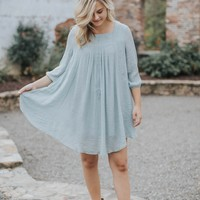 Sylvia Embroidered Dress, Light Blue