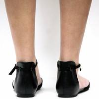 New Womens BDly Black Ankle Strap Mary Jane Pointed Toe Ballet Flats sz 6 to 11