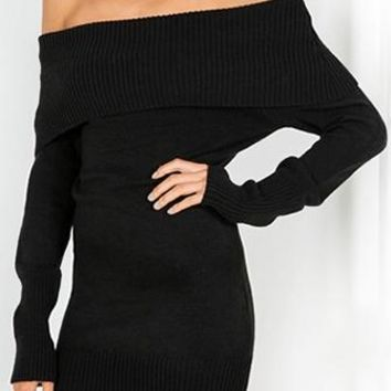 Time To Fly Black Long Sleeve Off The Shoulder Bodycon Mini Sweater Dress