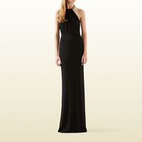 Gucci - black viscose jersey gown with crystal halter 371325X60891000