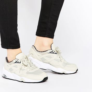 Puma R698 Trinomic PWRW Reflective Oatmeal Trainers at asos.com