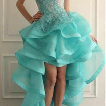 Backless High Low Prom Dresses 2016 New Lace Tiered Organza Formal Evening Party Dress Pageant Gown Custom Made