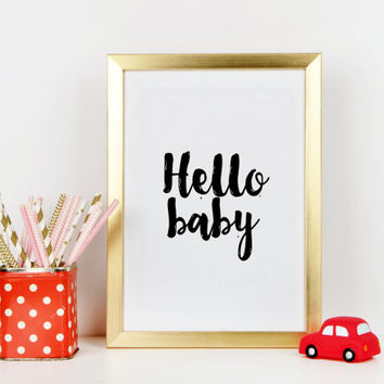 Hello Baby Nursery Print, Blue nursery art, hello baby print, baby prints wall art, Printable Nursery Art, Typography quote Wall artwork