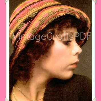 1970s Flapper Style 1920s Hat-Rainbow Cloche-Roll Up Hat-Folk-Boho-Hippie-Boho Chic-Roaring Twenties-Brim Hat-Vintage Crafts PDF