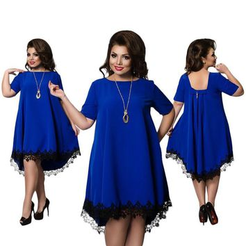 5XL 6XL Plus Size Short Sleeve O-Neck Lace Sexy Dress Fashion Summer Dress 2017 Big Size Club Praty Dresses For Women Clothing