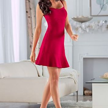 Red (RD) Drop Waist Bandage Dress