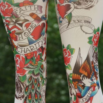 Vintage tattoo print leggings footless tights spandex workout pants leggins