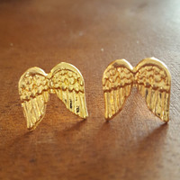 Dainty jewelry Small Angel wing earrings Gold plated chic style