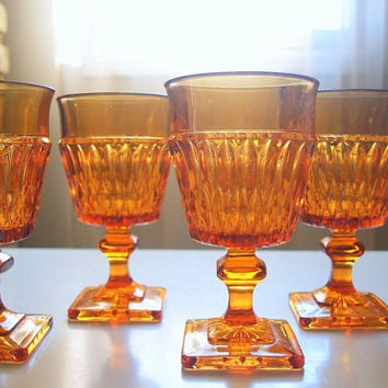 1967 VINTAGE CHIC GOBLETS Set of 4 Antique Honey Amber Gold Indiana Carnival Glass Diamond Cut Footed Wine Tumblers Mount Vernon Pattern