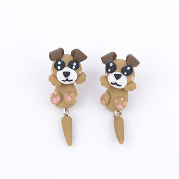 2015 New Handmade Polymer Clay Cartoon Khaki Dog Animal Stud Earrings Can Separate bijoux Piercing brincos Fine Jewelry 3191