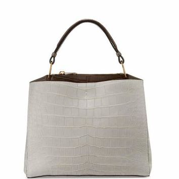 VBH Seven Cocco Alligator & Leather Tote Bag, Pearl Gray/Taupe/Winter White