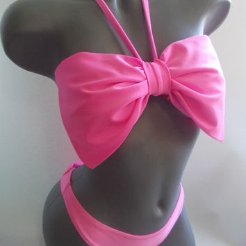 bow bandeau beach swimming set tanga contrast dots lining neon pink pin up swimming suit thong with big bow bikini brazilian string big bow