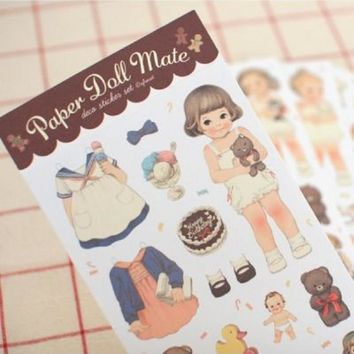 6Pcs/Pack New 2017 Cute Creative Stickers Paper Girl Combination Paper Doll Mate Stationery Sticker H0128