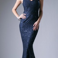 Lace Mermaid Sleeveless V-Neck Long Formal Dress Navy Blue