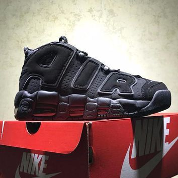 Best Online Sale Nike Air More Uptempo 3m Retro Sport Baskerball Triple Black Sneaker