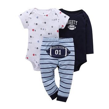 Baby boy clothing set 3 piece cotton Long sleeves short sleeves romper letter+stripe football pant for newborn
