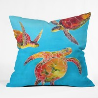 Clara Nilles Tie Dye Sea Turtles Throw Pillow